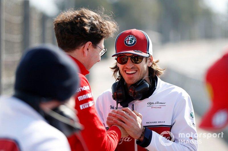 Mattia Binotto, Ferrari Team Principal, Antonio Giovinazzi, Alfa Romeo Racing