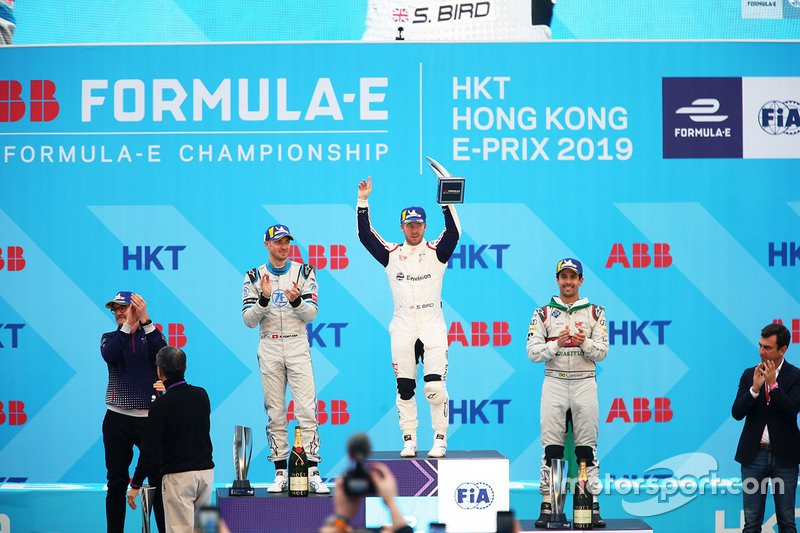 Ganador, Sam Bird, Envision Virgin Racing con Edoardo Mortara, Venturi Formula E y Lucas Di Grassi, Audi Sport ABT Schaeffler