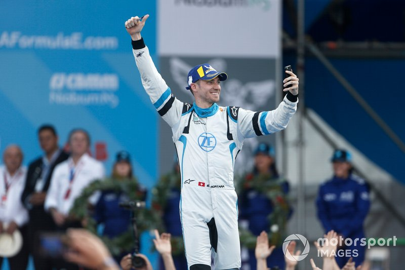 Edoardo Mortara Venturi Formula E, 3rd position, celebrates as he approaches the podium