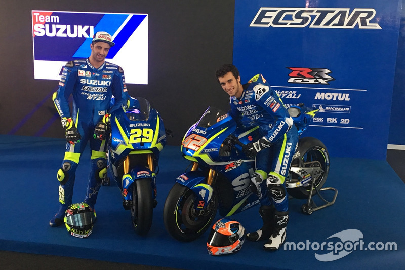 Andrea Iannone  and Alex Rins with the 2017 Suzuki MotoGP