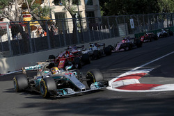 Lewis Hamilton, Mercedes AMG F1 F1 W08 leads Sebastian Vettel, Ferrari SF70H at the restart