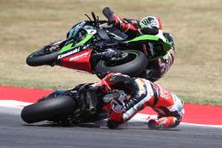 Chaz Davies, Ducati Team, Jonathan Rea, Kawasaki Racing, incidente