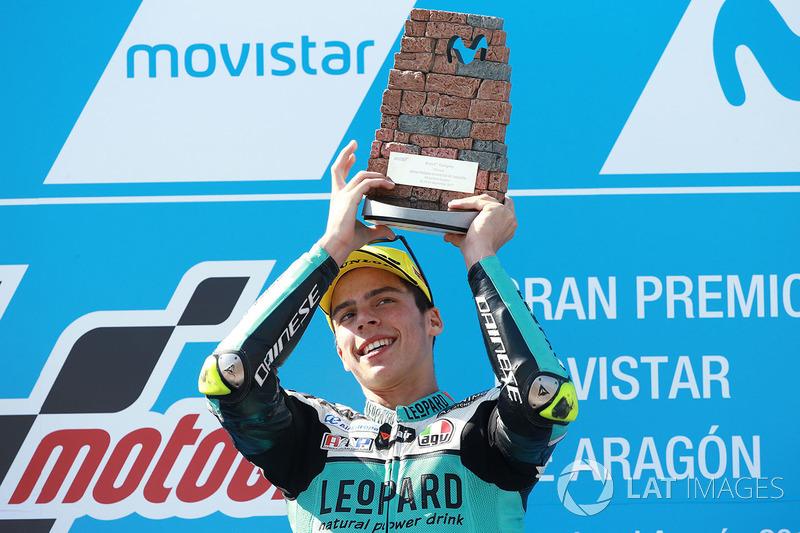 Na Moto3, Joan Mir colocou uma mão e quatro dedos no título mundial após conquistar uma vitória convincente. Com 80 pontos de frente, ele pode ser campeão já no próximo GP, em Motegi.