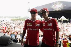 Sebastian Vettel, Ferrari, Kimi Raikkonen, Ferrari, on the F1 Live stage