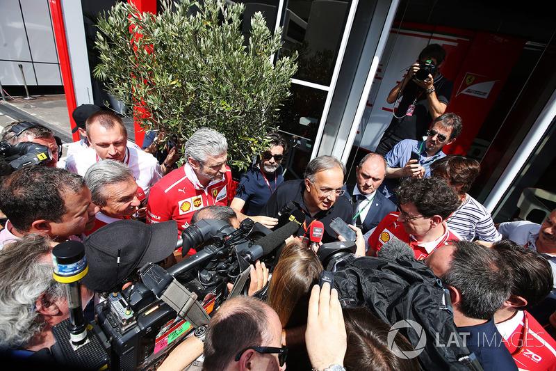 Sergio Marchionne, Chief Executive Officer, Fiat Chrysler and Chairman, Ferrari, is interviewed alongside Maurizio Arrivabene, Team Principal, Ferrari