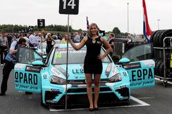 Grid girl of Jean-Karl Vernay, Leopard Racing Team WRT, Volkswagen Golf GTi TCR