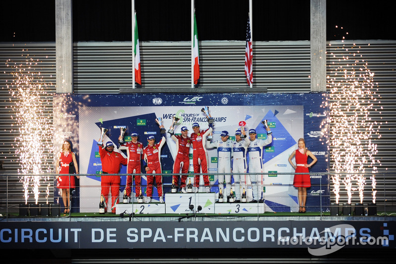 Podium LMGTE Pro: first place Davide Rigon, Sam Bird, AF Corse, second place James Calado, Alessandro Pier Guidi, AF Corse, third place Olivier Pla, Stefan Mücke, Billy Johnson, Ford Chip Ganassi Racing