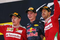 Kimi Raikkonen, Ferrari, 2nd Position, Max Verstappen, Red Bull Racing, 1st Position, and Sebastian Vettel, Ferrari, 3rd Position, on the podium