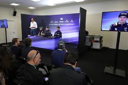 Matteo Bonciani, FIA Media Delegate, Sergio Perez, Sahara Force India, Max Verstappen, Red Bull Racing and Pascal Wehrlein, Sauber