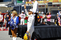Lewis Hamilton, Mercedes AMG F1, waves to the crowd during the pre-race presentation