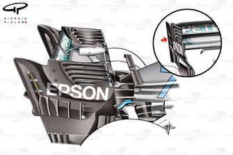 Mercedes AMG F1 W09 comparación del alerón trasero, GP de Singapur