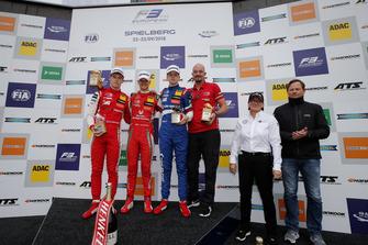 Podium: Race winner Mick Schumacher, PREMA Theodore Racing Dallara F317 - Mercedes-Benz, second place Marcus Armstrong, PREMA Theodore Racing Dallara F317 - Mercedes-Benz, third place Robert Shwartzman, PREMA Theodore Racing Dallara F317 - Mercedes-Benz, Ellen Lohr