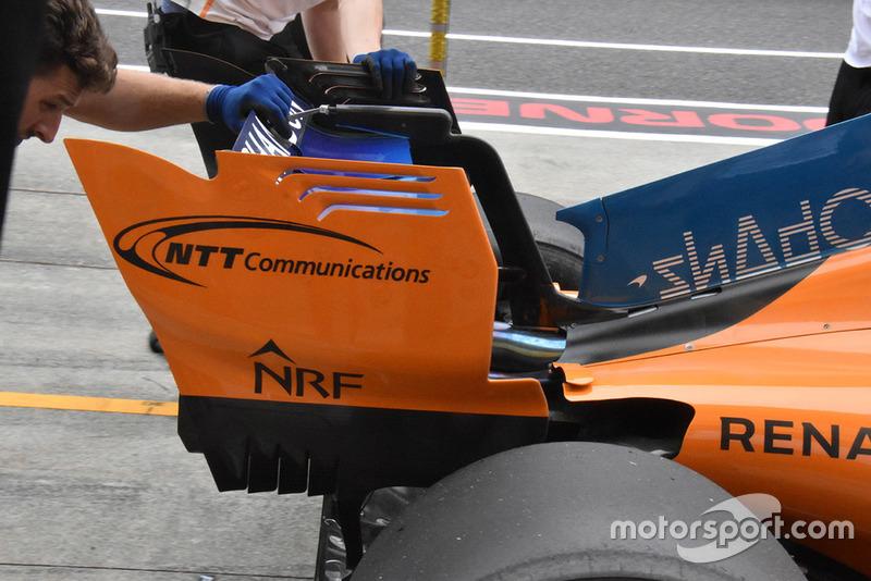 Detalle del alerón trasero del McLaren MCL33