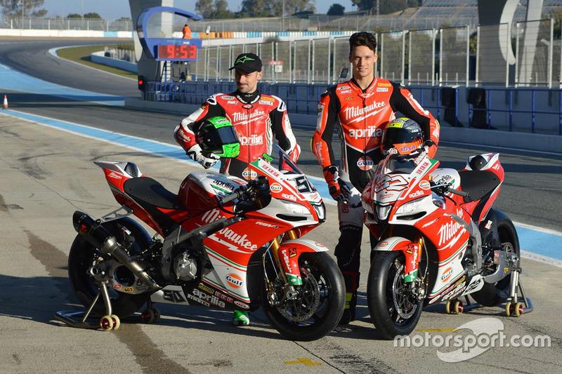 Lorenzo Savadori, Milwaukee Aprilia World Superbike Team; Eugene Laverty, Milwaukee Aprilia World Superbike Team