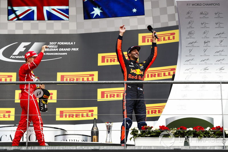 Podium: second place Sebastian Vettel, Ferrari, third place Daniel Ricciardo, Red Bull Racing