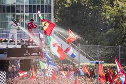 Race winner Third place Lewis Hamilton, Mercedes AMG F1 Sebastian Vettel, Ferrari, celebrate on the podium, Champagne