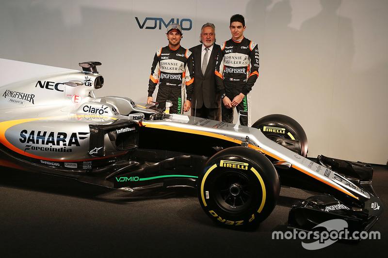 Sergio Perez, Vijay Mallya, Esteban Ocon, Sahara Force India F1 Team