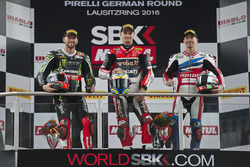 Podium: winner Chaz Davies, Ducati Team, second place Tom Sykes, Kawasaki Racing, third place Nicky Hayden, Honda