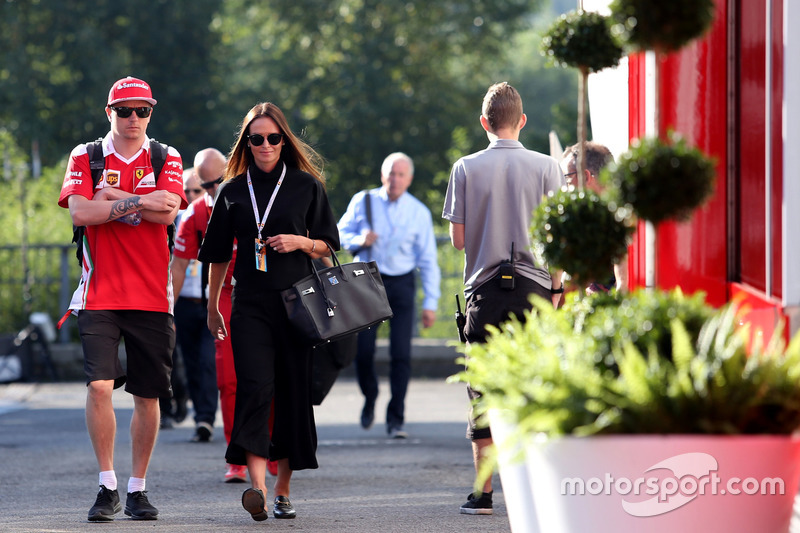 Kimi Raikkonen, Scuderia Ferrari and his wife Minttu