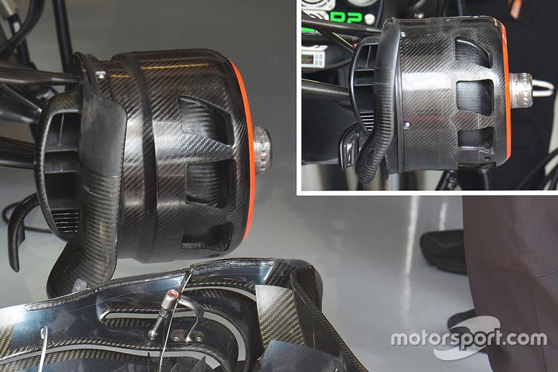 Vergelijking front brake ducts McLaren