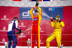 Podium: winner Jordan King, Racing Engineering, second place Luca Ghiotto, Trident, third place Oliver Rowland, MP Motorsport celebrate with champagne