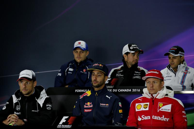 The Drivers Press Conference featuring Marcus Ericsson, Sauber F1, Sergio Perez, Force India, Felipe Massa, Williams, Kimi Raikkonen, Ferrari, Daniel Ricciardo, Red Bull Racing, and Jenson Button, McLaren