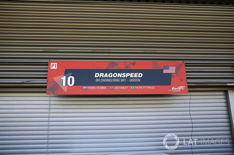 Closed garage of #10 Dragonspeed BR Engineering BR1: Henrik Hedman, Ben Hanley, Pietro Fittipaldi