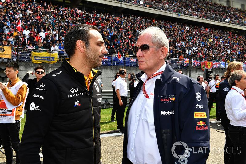 Cyril Abiteboul, Renault Sport F1 y el Dr Helmut Marko, Red Bull