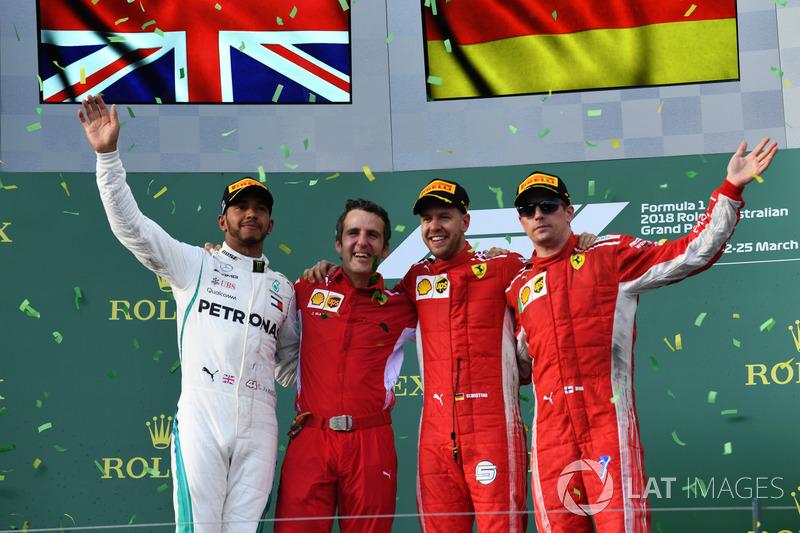 Lewis Hamilton, Mercedes AMG F1, 2nd position, Inaki Rueda, Race Strategist, Ferrari, Sebastian Vett