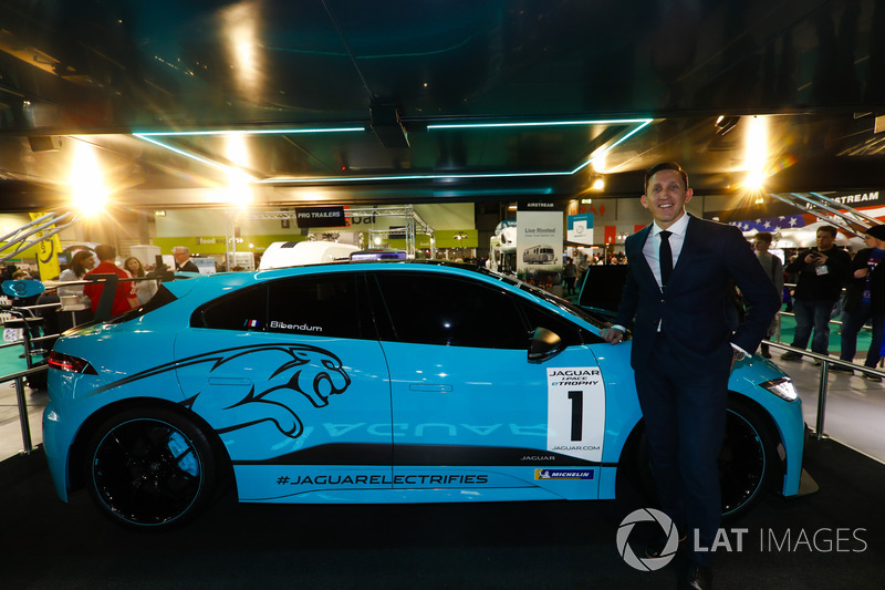 The Jaguar I-Pace eTrophy is launched, James Barclay and stands next to the car