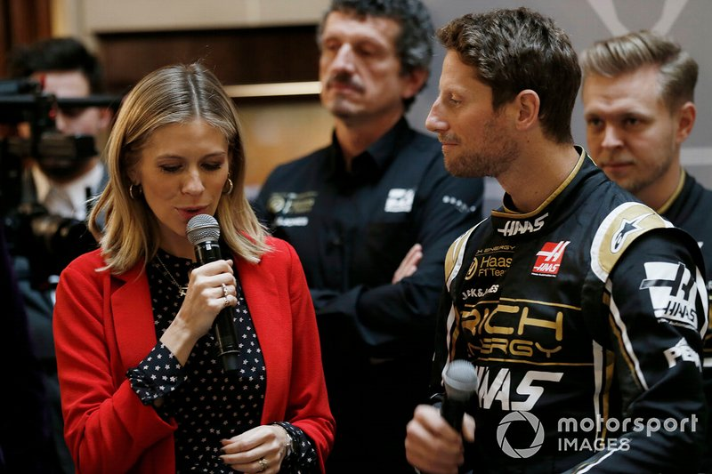 Presenter Nicki Shields and Romain Grosjean, Haas F1 Team