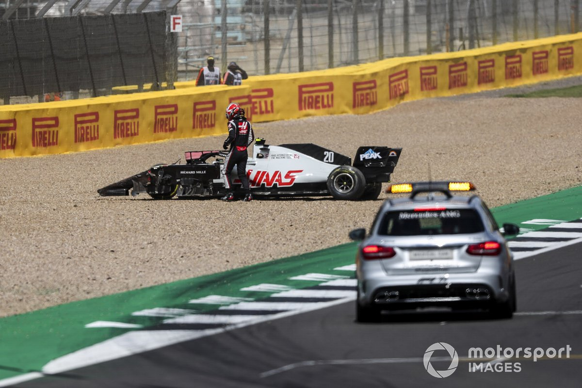 Kevin Magnussen, Haas VF-20, in the gravel after crashing out