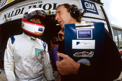 Roland Ratzenberger, Simtek, talks with his race engineer Humphrey Corbett