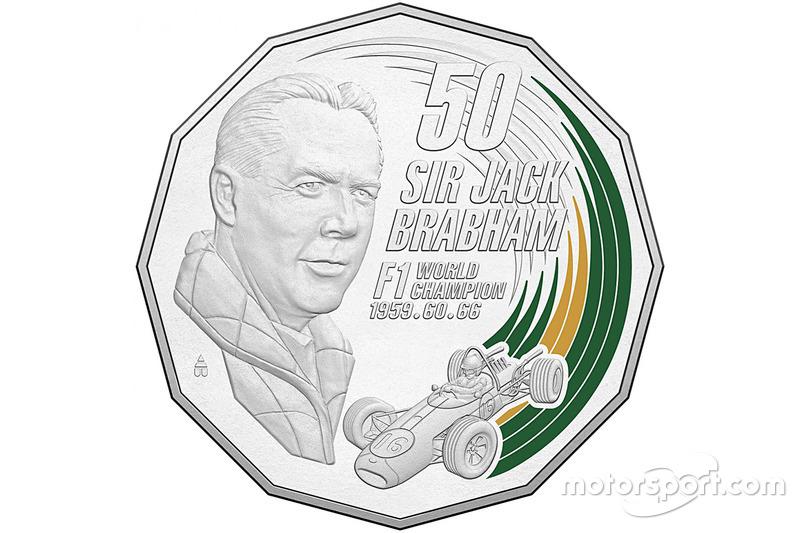 Sir Jack Brabham Royal Australian Mint coloured uncirculated coin