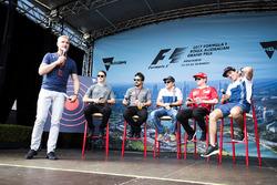 David Coulthard hosts a fan event with Stoffel Vandoorne, McLaren, Fernando Alonso, McLaren, Felipe Massa, Williams, Kimi Raikkonen, Ferrari and Lance Stroll, Williams