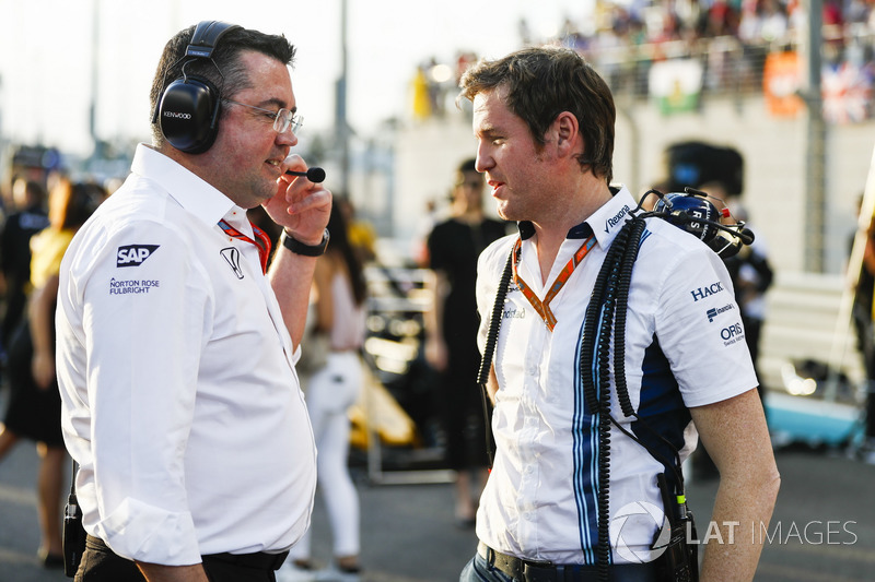 Eric Boullier, Racing Director, McLaren, Rob Smedley, Head of Vehicle Performance, Williams