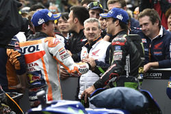 Race winner Marc Marquez, Repsol Honda Team, Johann Zarco, Monster Yamaha Tech 3,