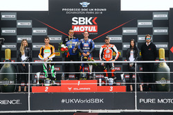 Podium SSP: race winner Sandro Cortese, Kallio Racing, second place Jules Cluzel, NRT, third place Raffaele De Rosa, MV Agusta Reparto Corse by Vamag