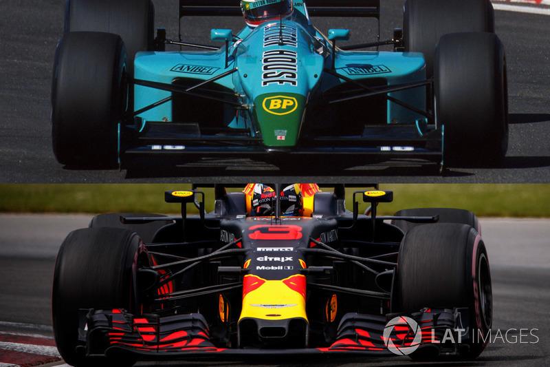 Comparaison de l'aileron avant de la Leyton House et de la Red Bull f