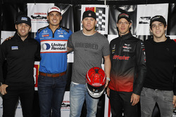 Actor Channing Tatum is presented with a helmet autographed by the entire Honda driver field by Ed Jones, Chip Ganassi Racing Honda, Graham Rahal, Rahal Letterman Lanigan Racing Honda, Zachary Claman De Melo, Dale Coyne Racing Honda, and Zachary Claman De Melo, Dale Coyne Racing Honda