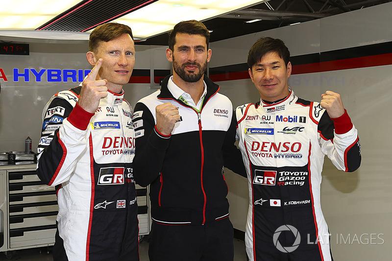 Pole sitters #7 Toyota Gazoo Racing Toyota TS050: Mike Conway, Jose Maria Lopez, Kamui Kobayashi