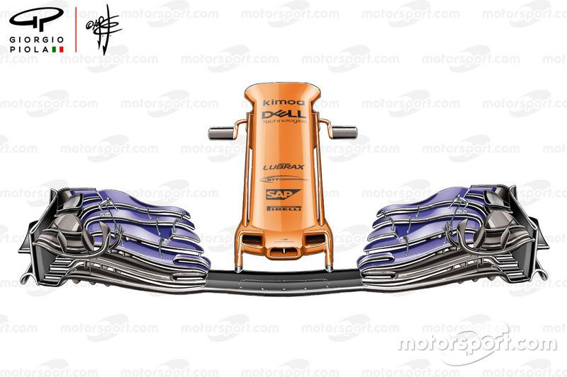 El morro y alerón delantero del McLaren MCL33 para el GP de España