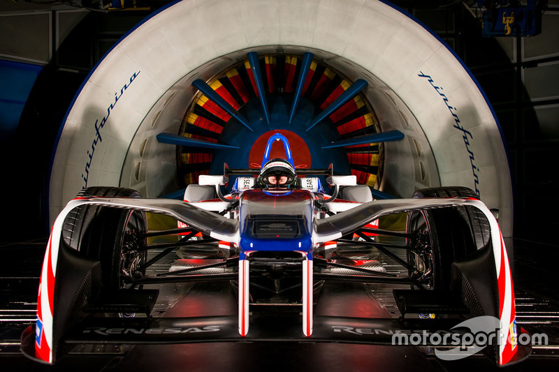 Mahindra Formula E car in the Pininfarina wind tunnel
