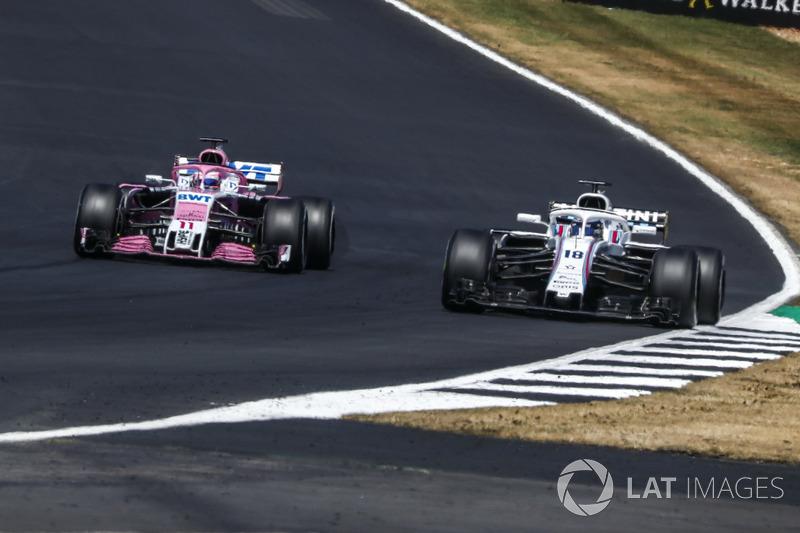 Sergio Perez, Force India VJM11 y Lance Stroll, Williams FW41