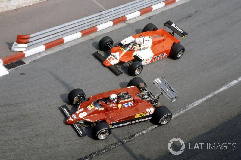 Didier Pironi, Ferrari 126C2 ve Andrea de Cesaris, Alfa Romeo 182
