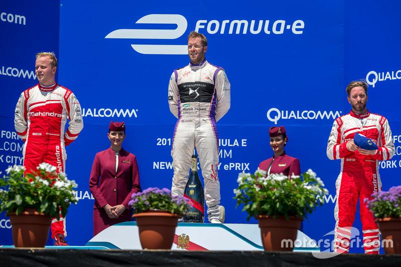 1. Sam Bird, DS Virgin Racing; 2. Felix Rosenqvist, Mahindra Racing; 3. Nick Heidfeld, Mahindra Raci