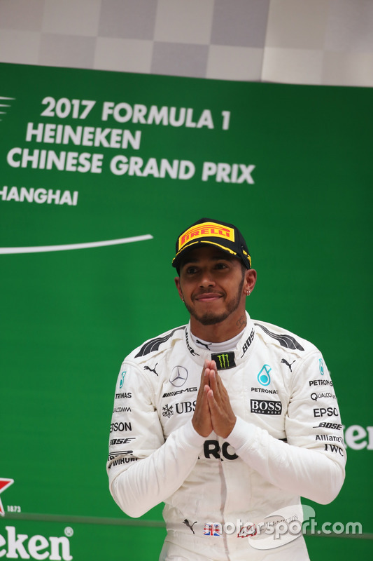 Lewis Hamilton, Mercedes AMG, on the podium