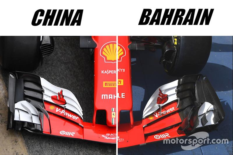 Comparaison des ailerons avant de la Ferrari SF70H