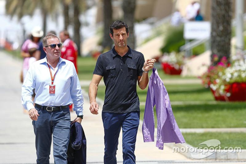 Martin Brundle, Commentator, Sky Sports F1, with Mark Webber, Pundit, Channel 4 F1