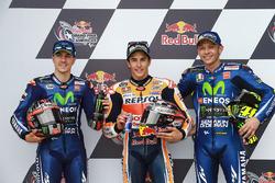 Qualifiche: il poleman Marc Marquez, Repsol Honda Team, il secondo classificato Maverick Viñales, Yamaha Factory Racing, il terzo classificato Valentino Rossi, Yamaha Factory Racing